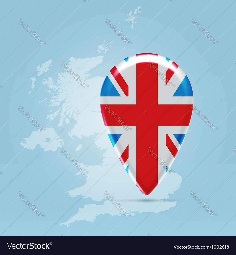 UK point icon over silhouette map