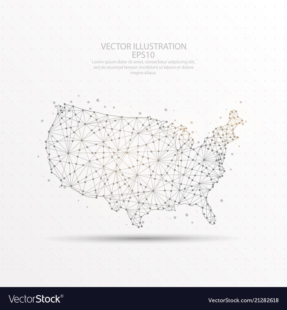 Usa map low poly wire frame on white background