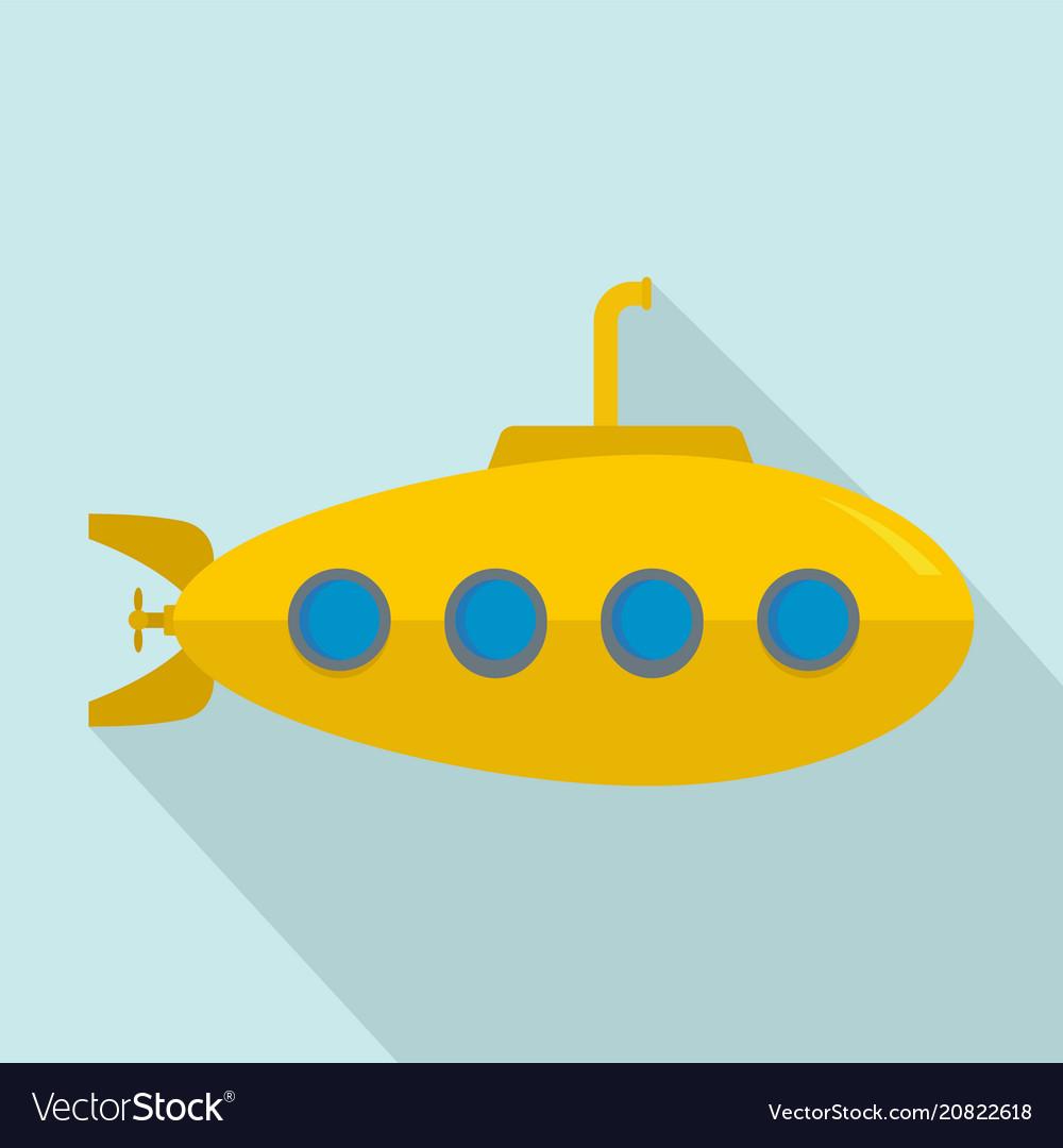 Yellow submarine icon flat style