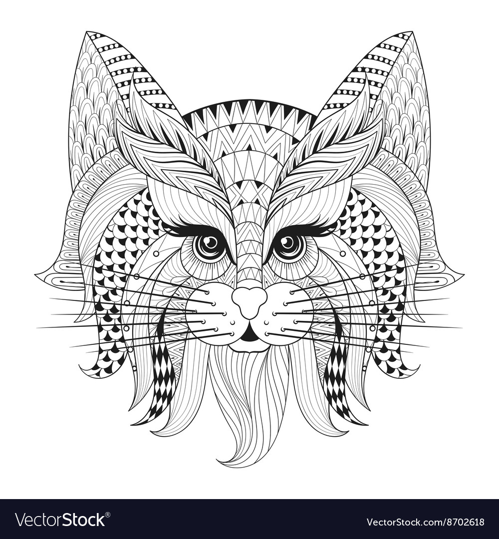 Zentangle Hand drawn Cat face for adult antistress