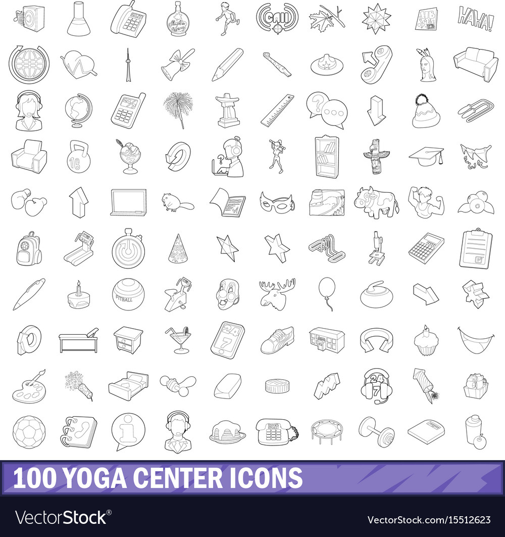 100 yoga center icons set outline style
