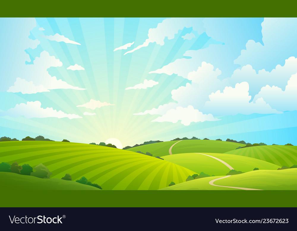 Fields landscape scenic green hills nature sky