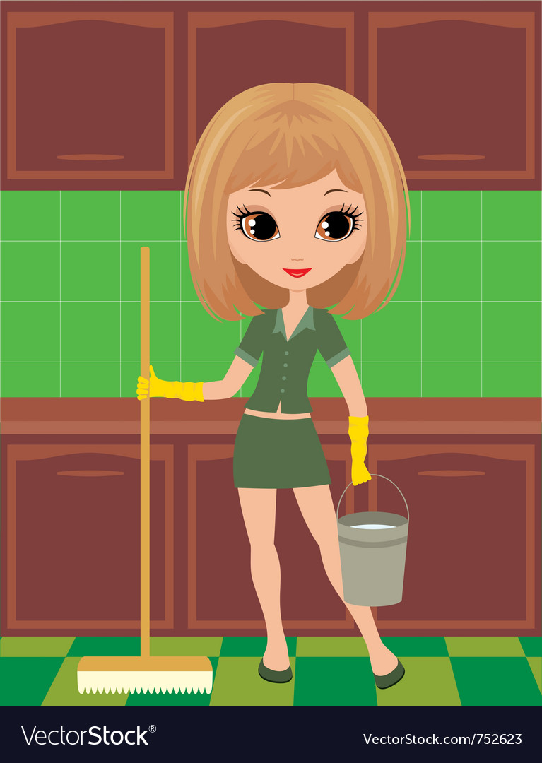 Girl cleans vector image
