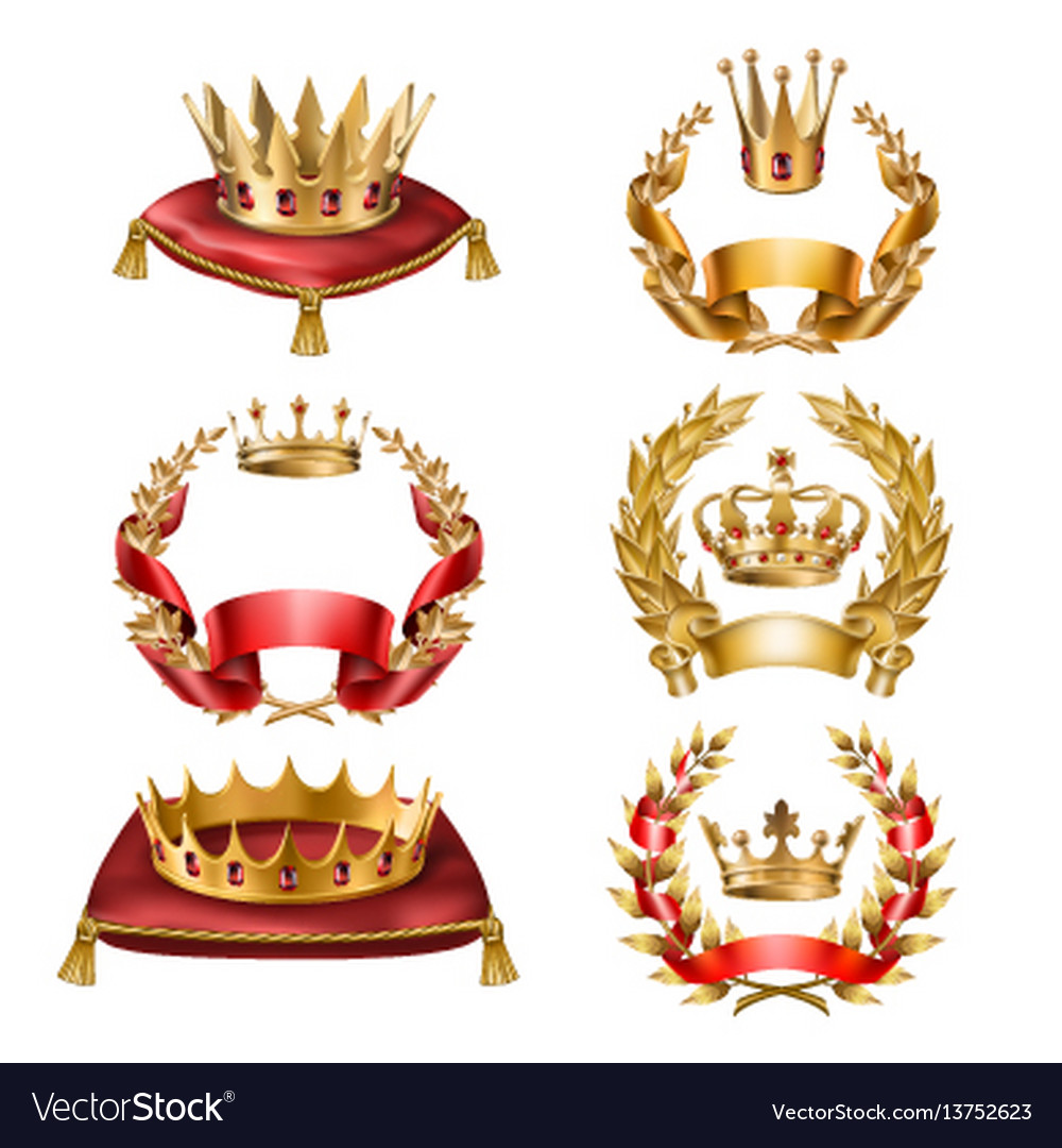 Icons golden crowns and laurel wreaths