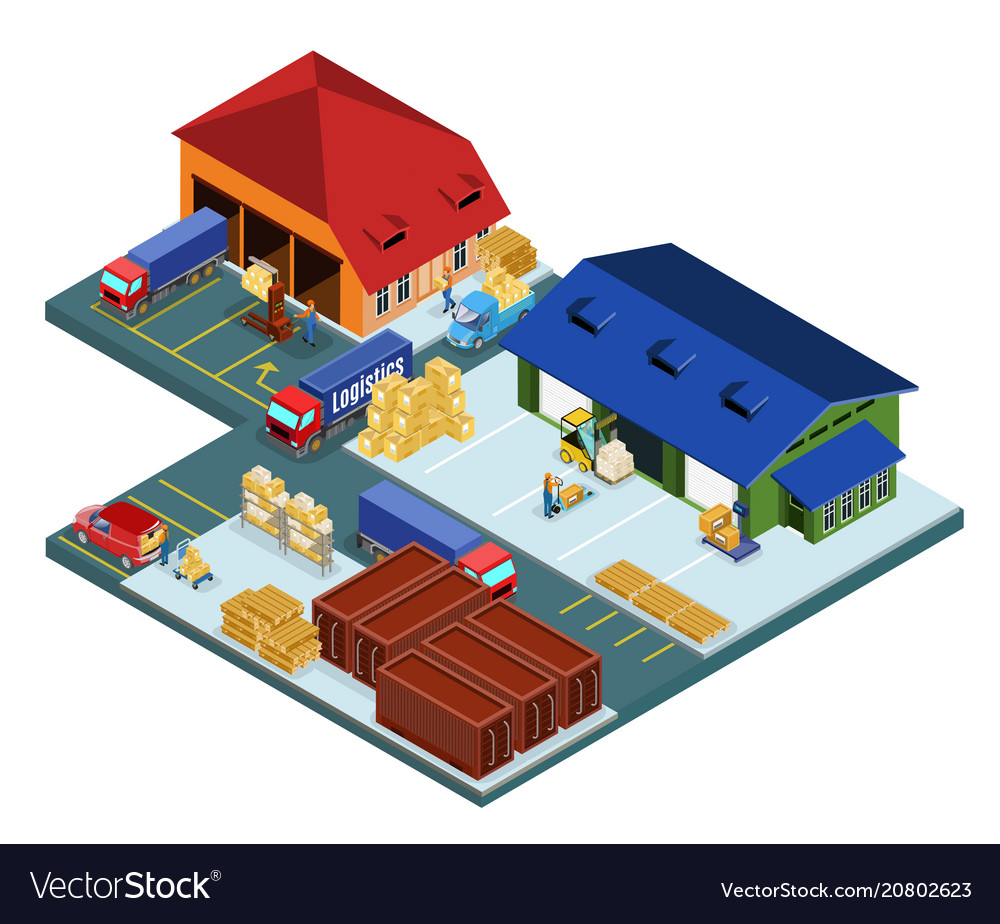 Isometric warehouse area concept vector image
