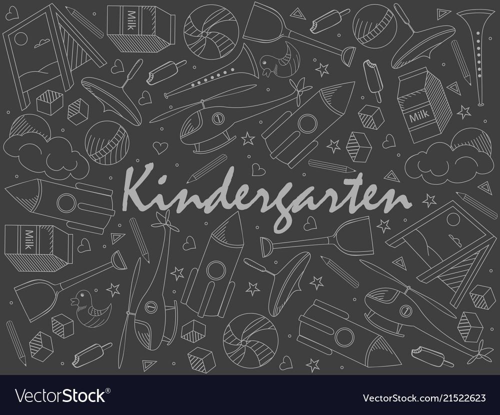 Kindergarten piece of chalk line art design