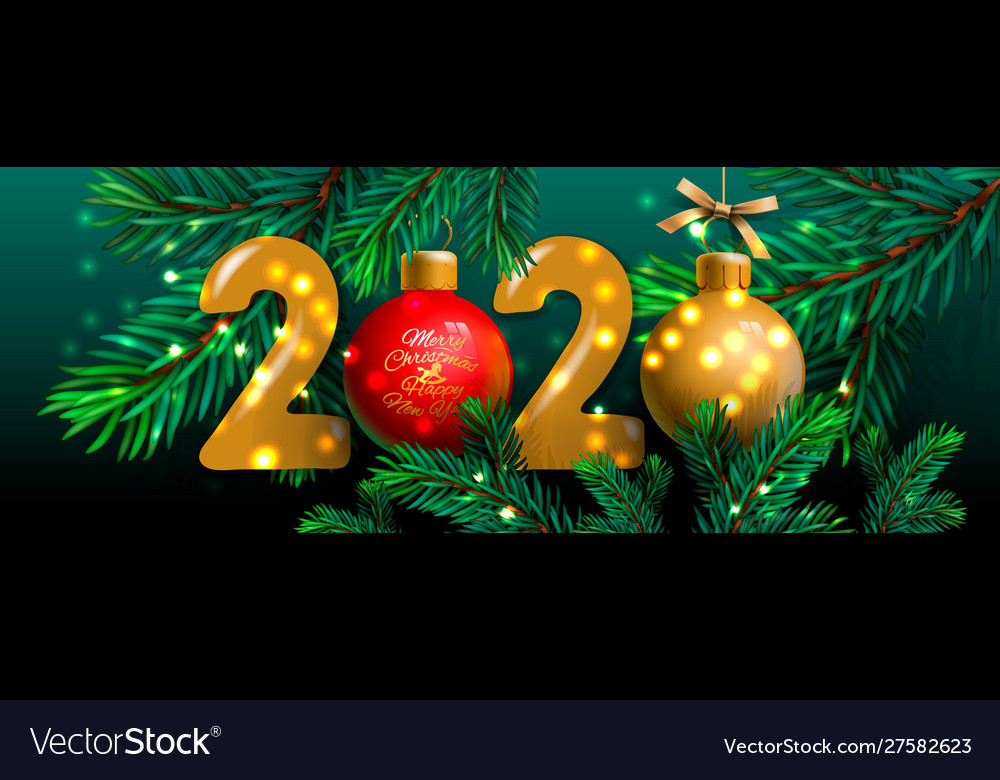 Merry christmas and happy new year 2020 banner