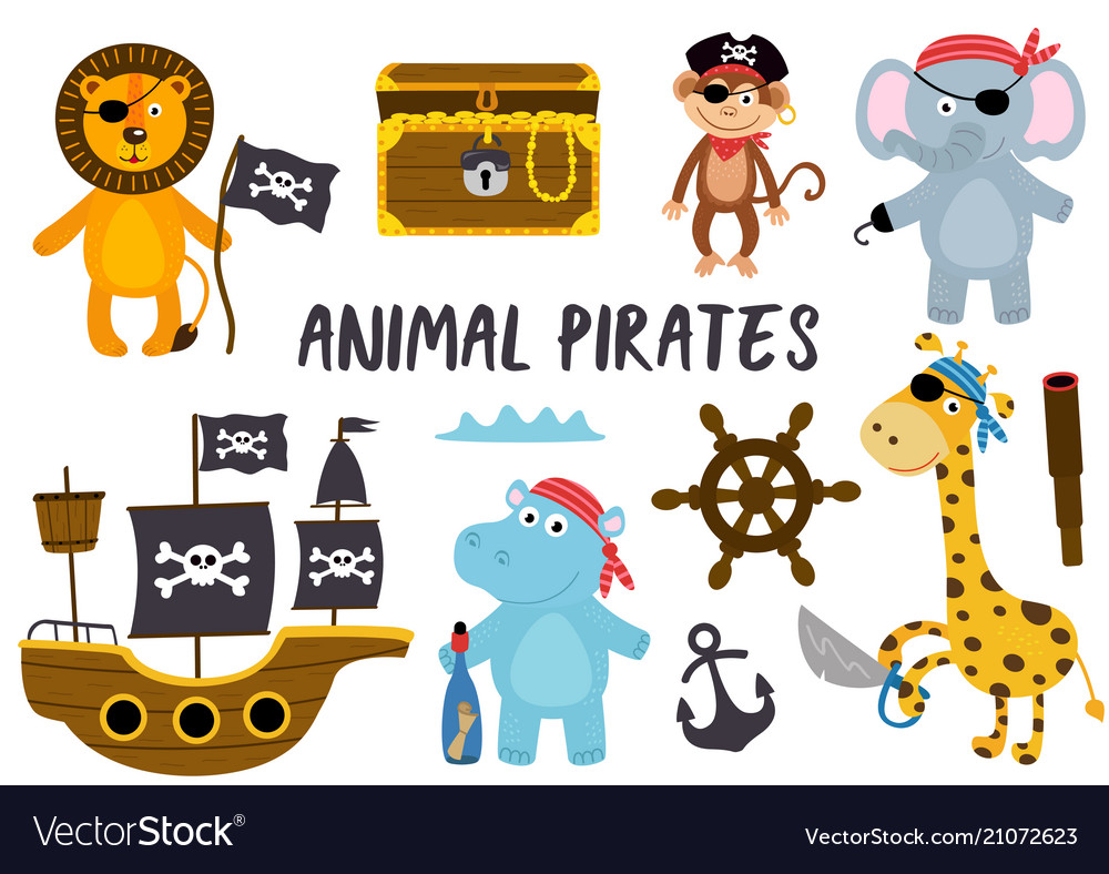 Set of isolated animals pirates and other elements
