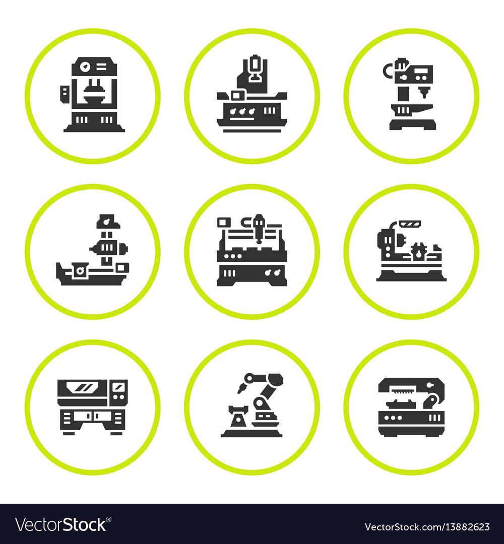 Set round icons of machine tool