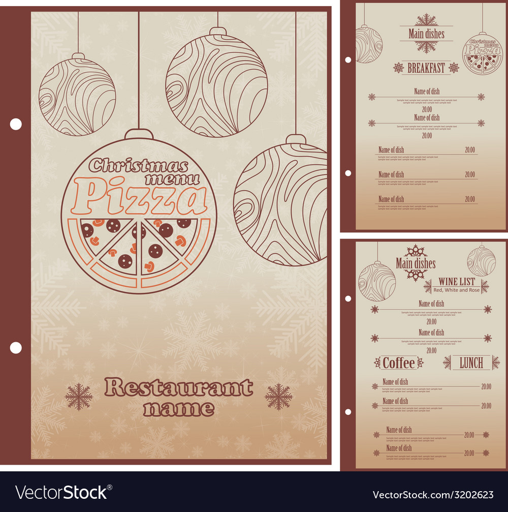 Special Christmas Restaurant menu for pizza