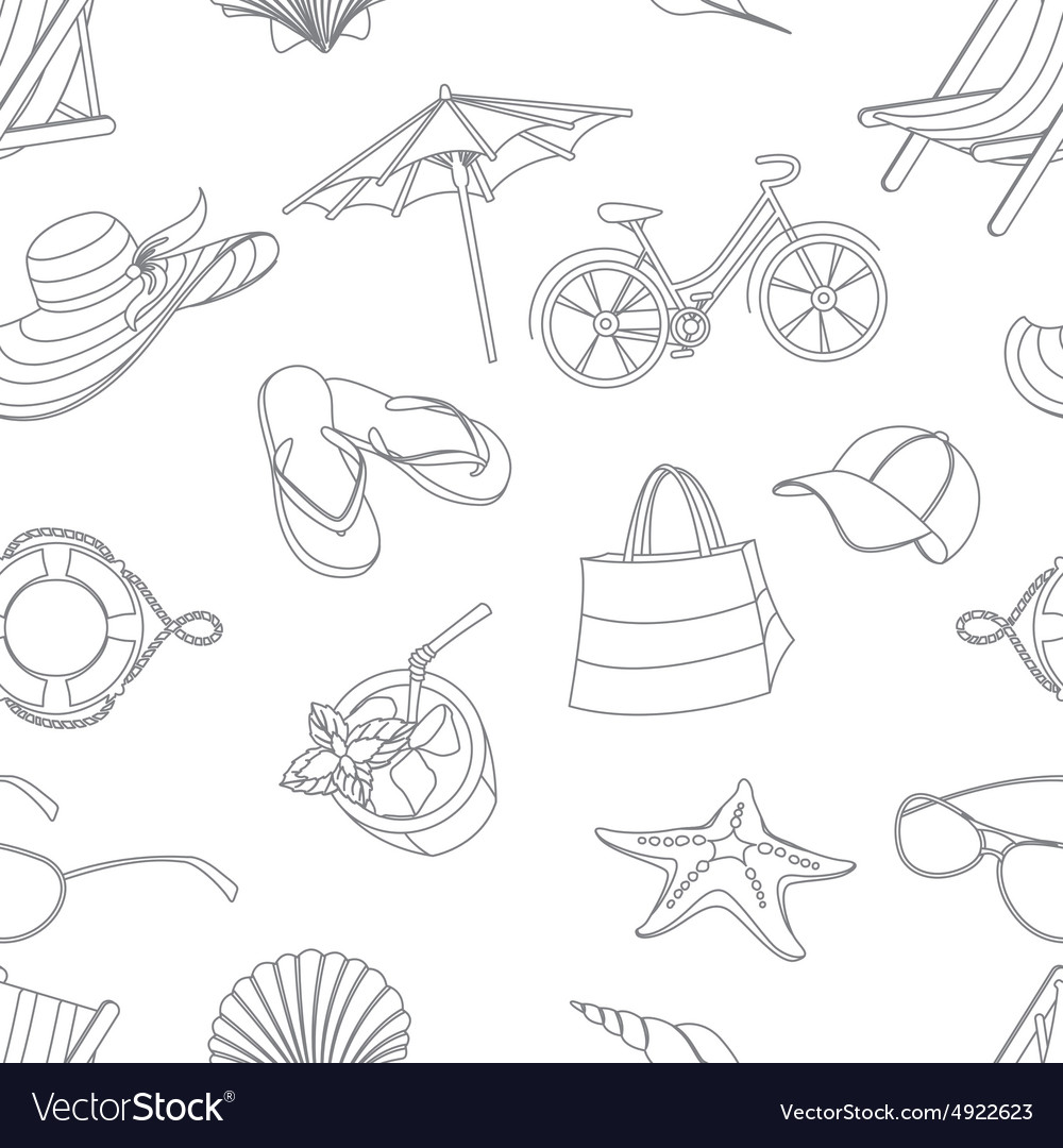 Summer icons seamless line pattern Doodle style