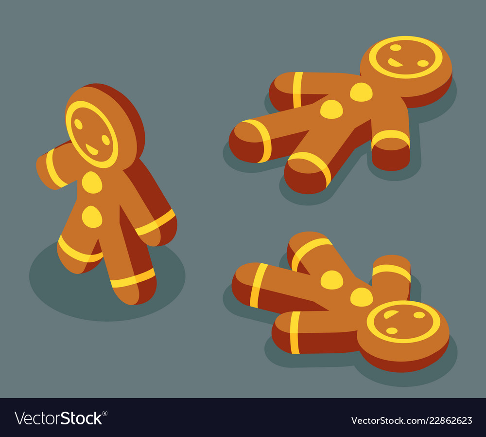 Sweet gingerbread man winter isometric christmas