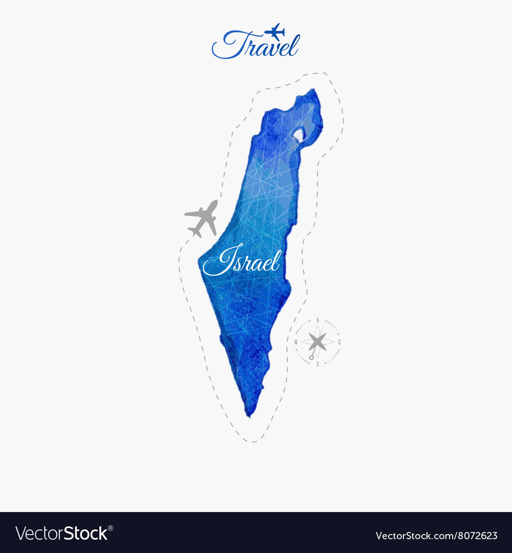 Travel around the world Israel Watercolor map