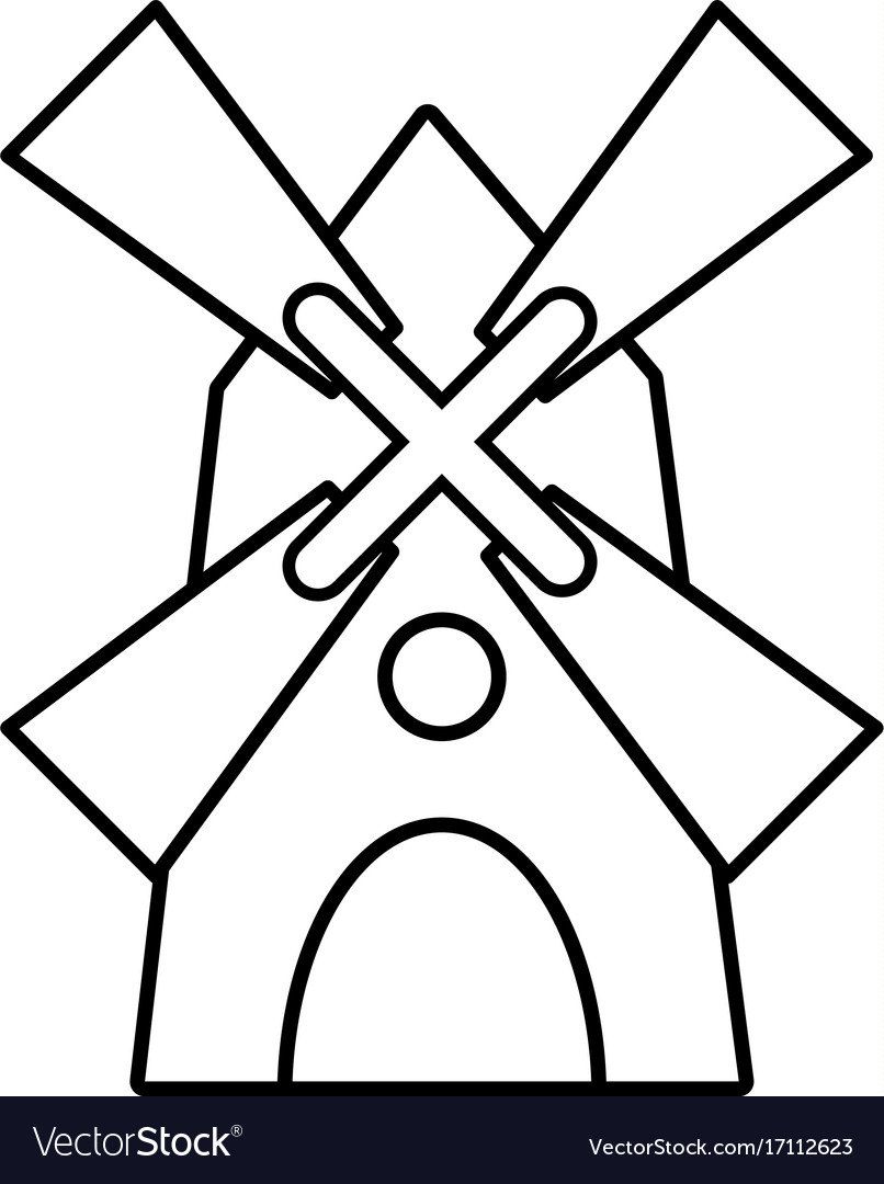 Windmill icon outline style