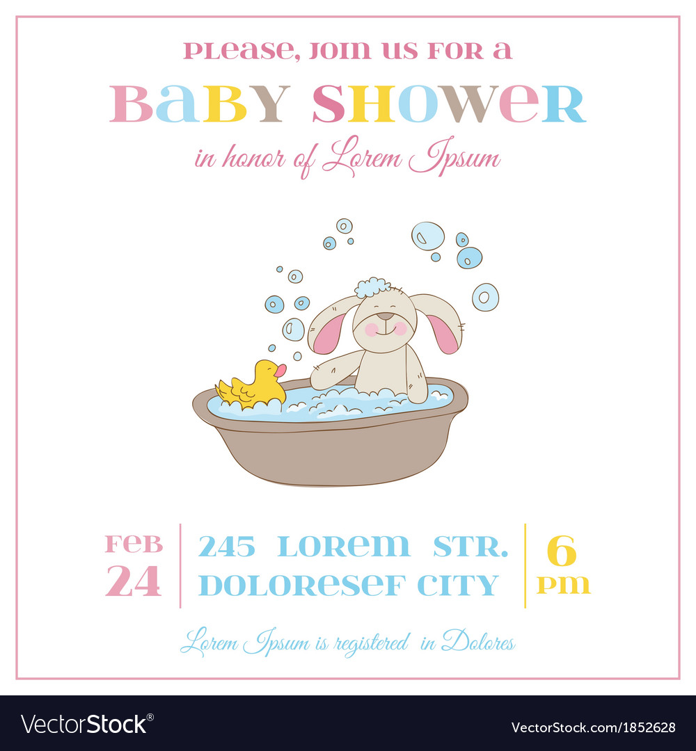Baby Shower or Arrival Card - Baby Bunny Girl