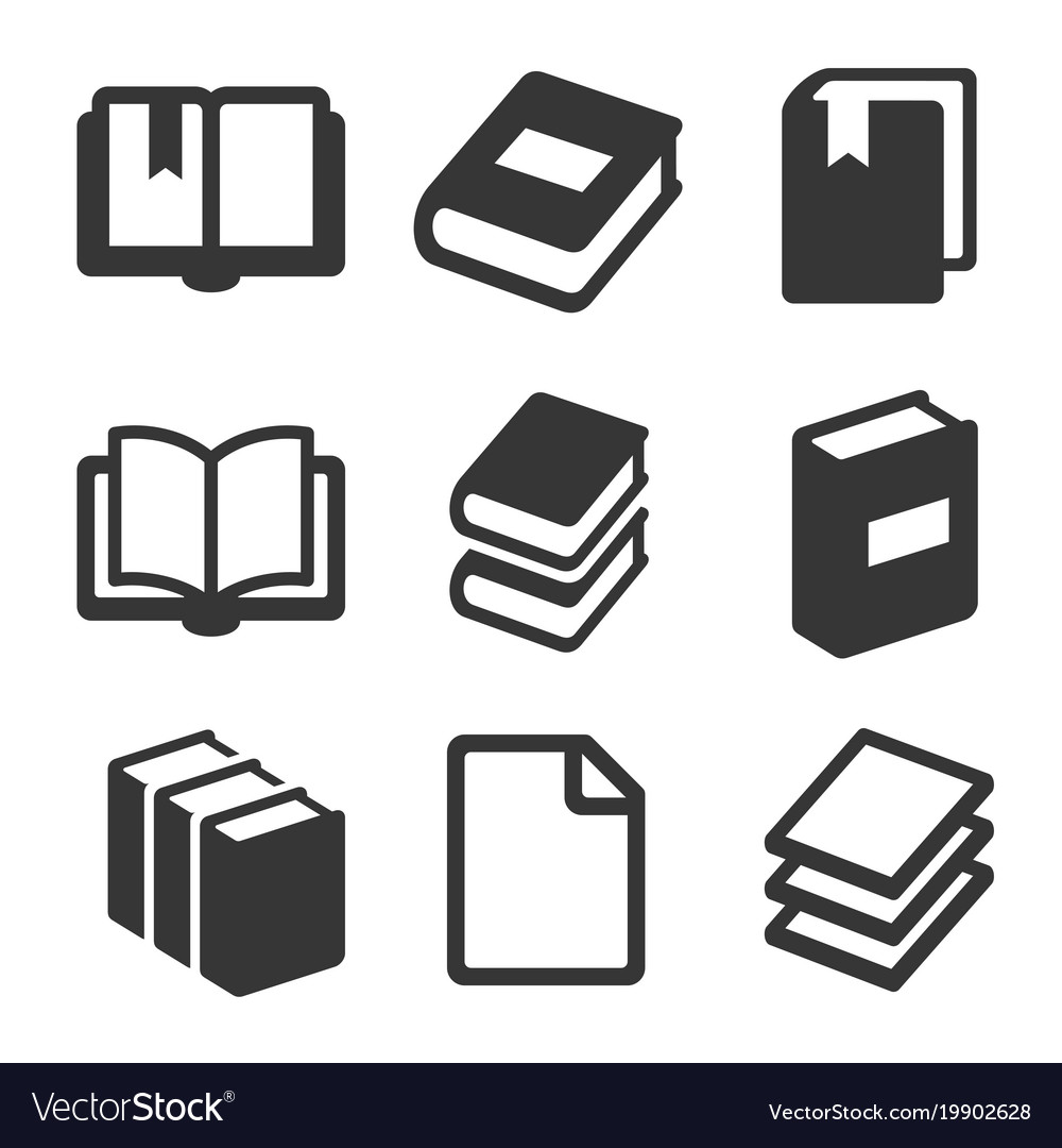 Book icons set on white background
