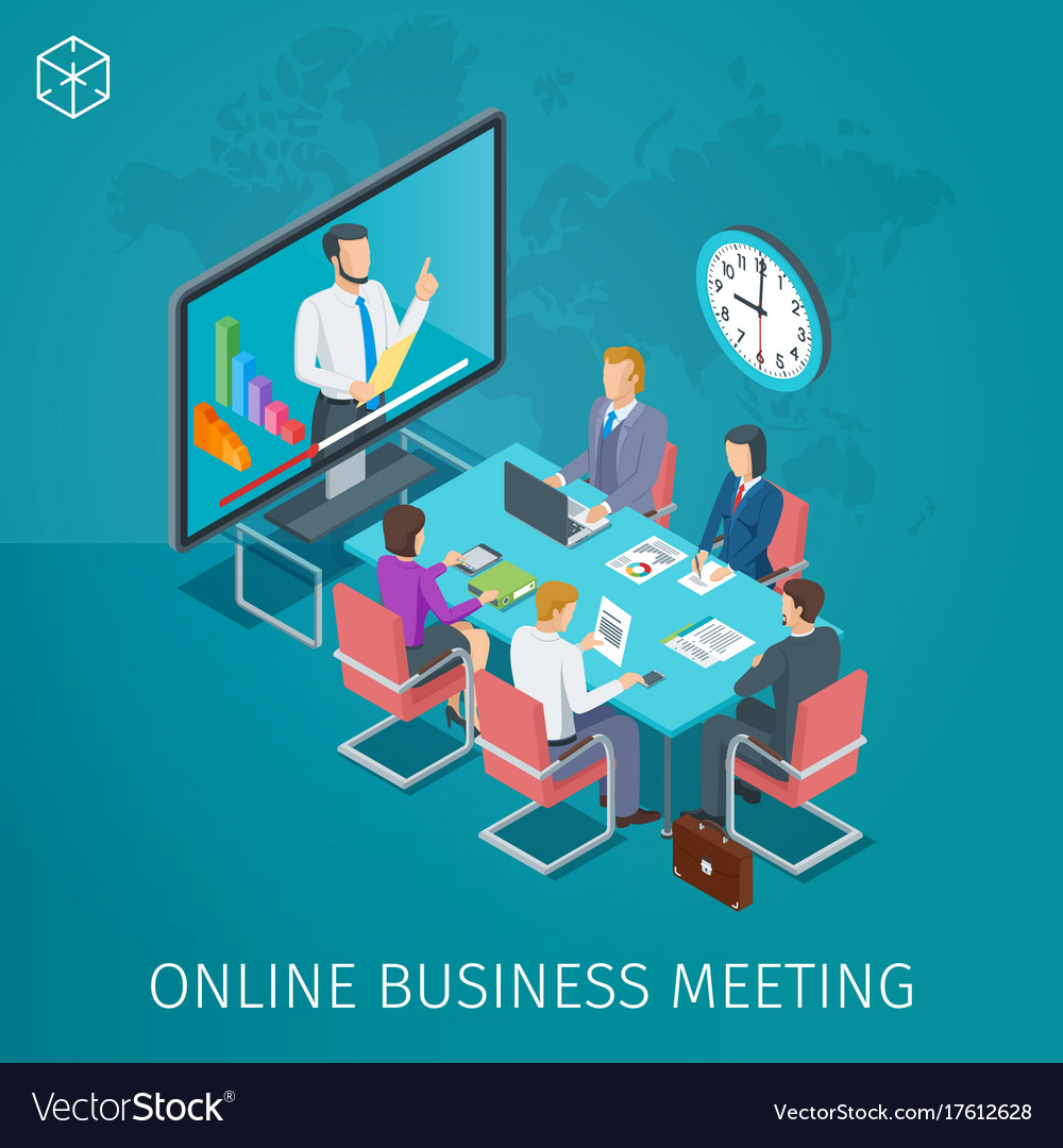 Business conference online banner vector image