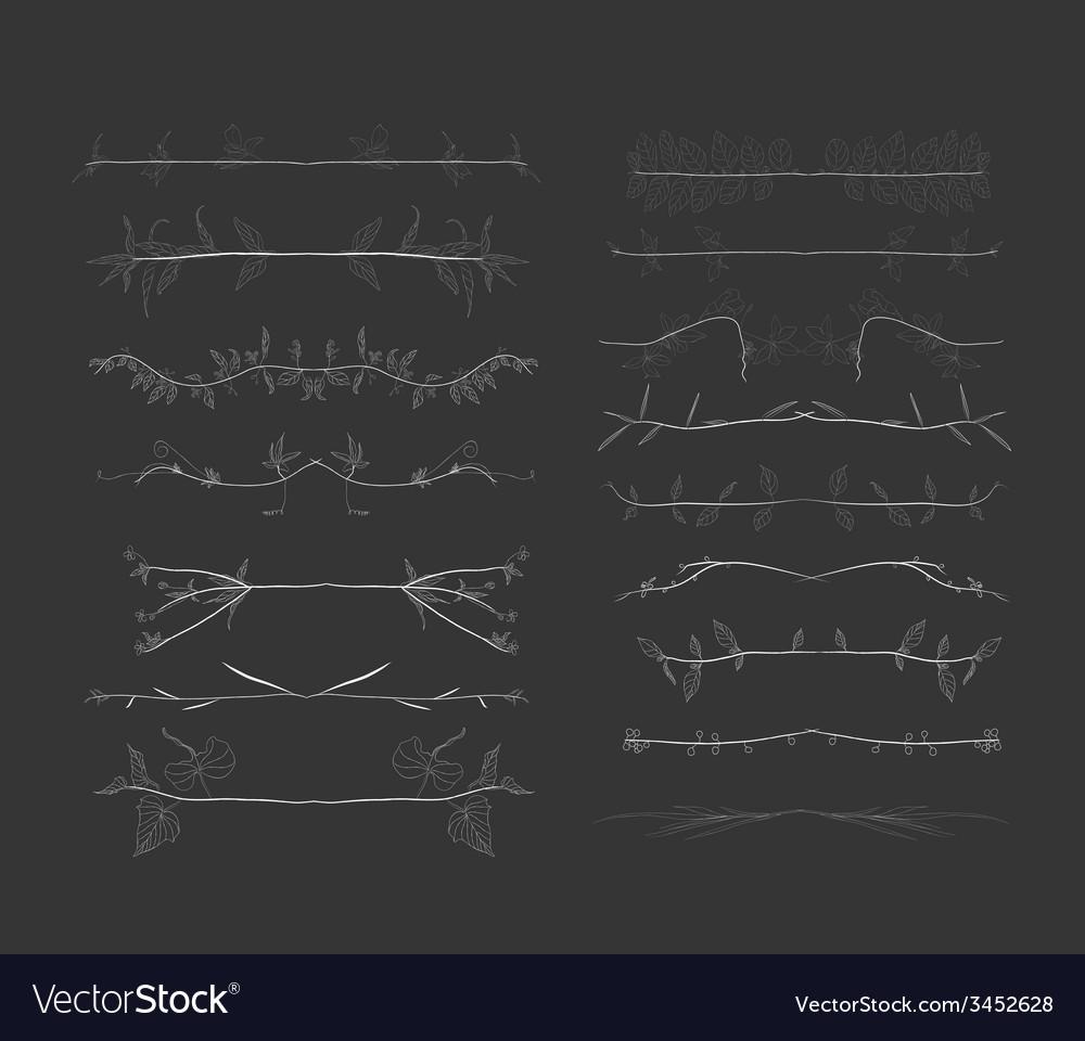 Chalkboard florals divider hand drawn vintage vector image