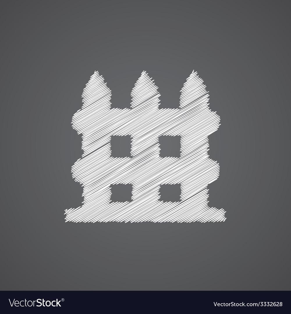 Fence sketch logo doodle icon vector image