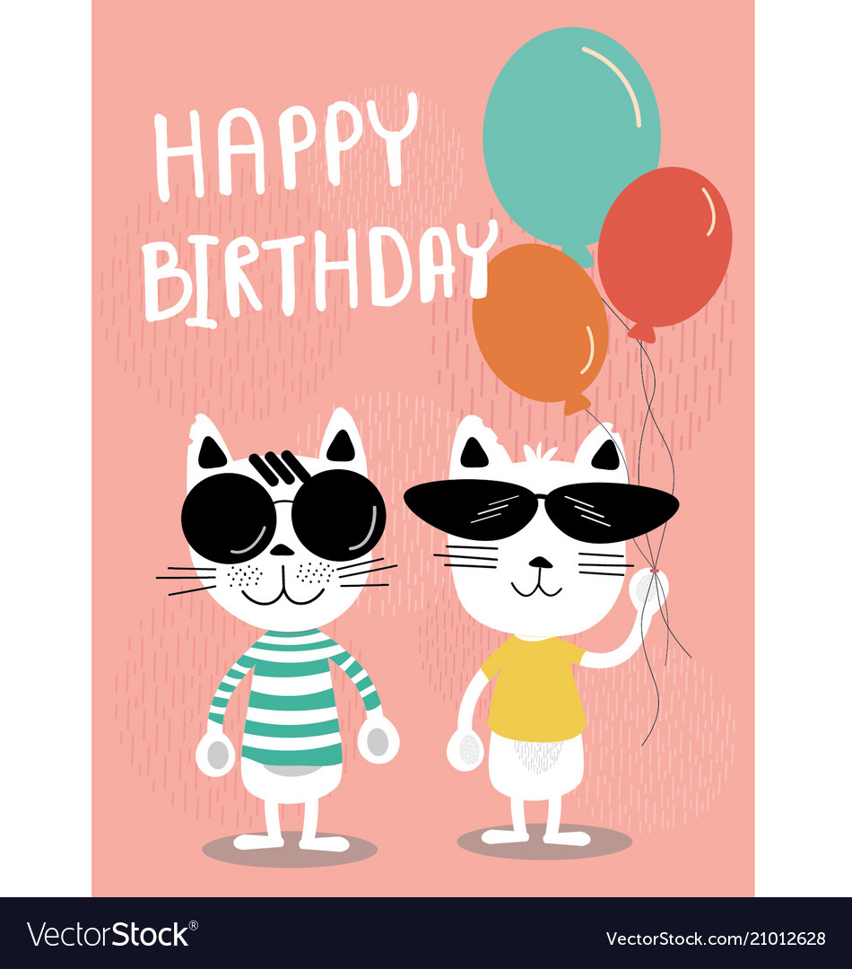 Funny Cats Cartoon Birthday Card Vector Image