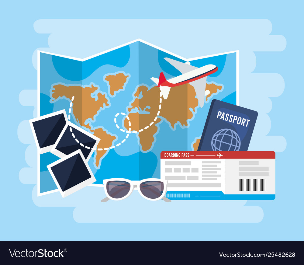 Global map with airplane and passport with tickets