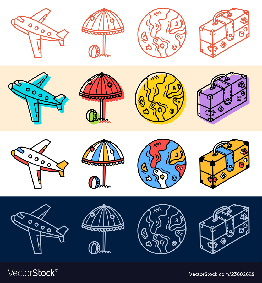 Hand draw plane travel earth icon set in doodle