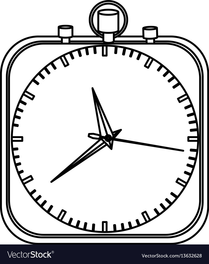 Monochrome stopwatch in shape square vector image