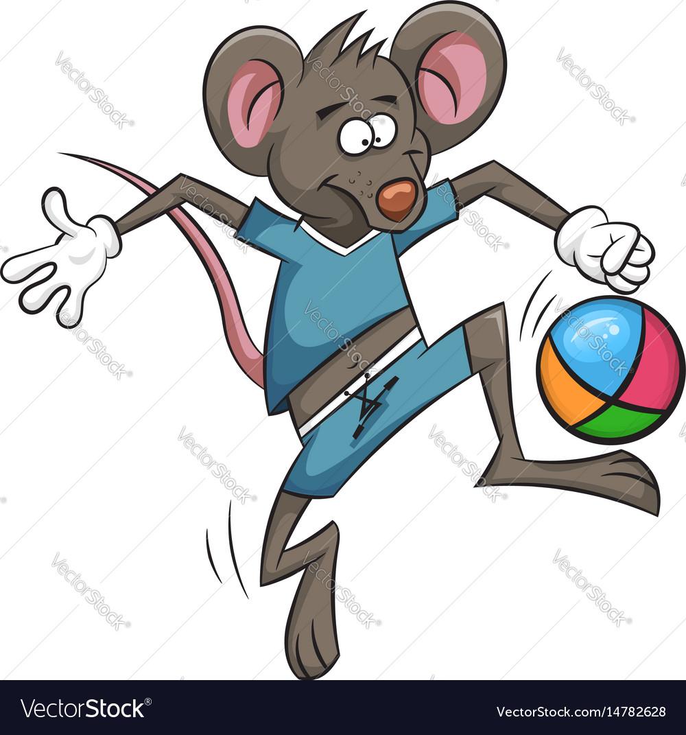 Mouse plays football cartoon ball