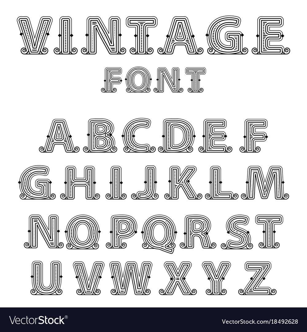 Retro mono line decorative font