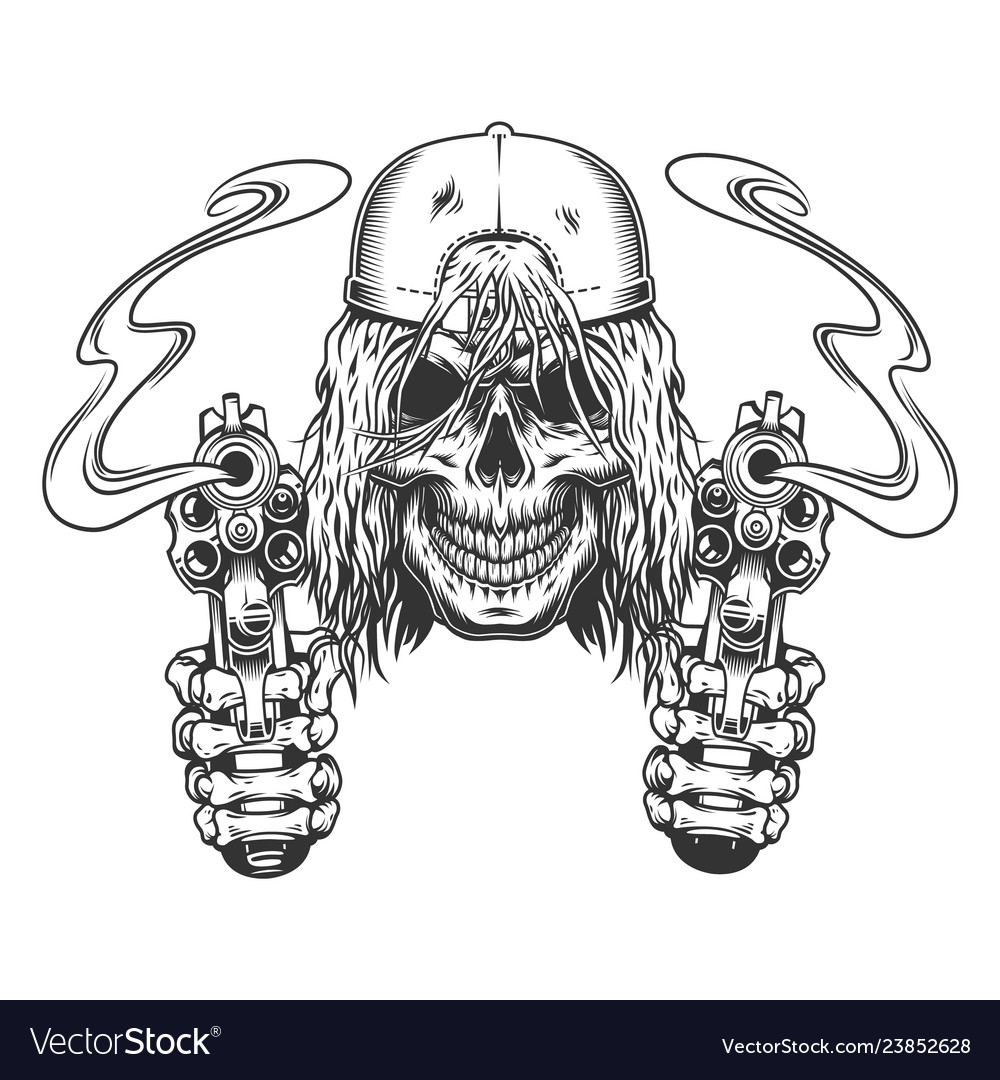 Vintage monochrome skateboarder skull in cap