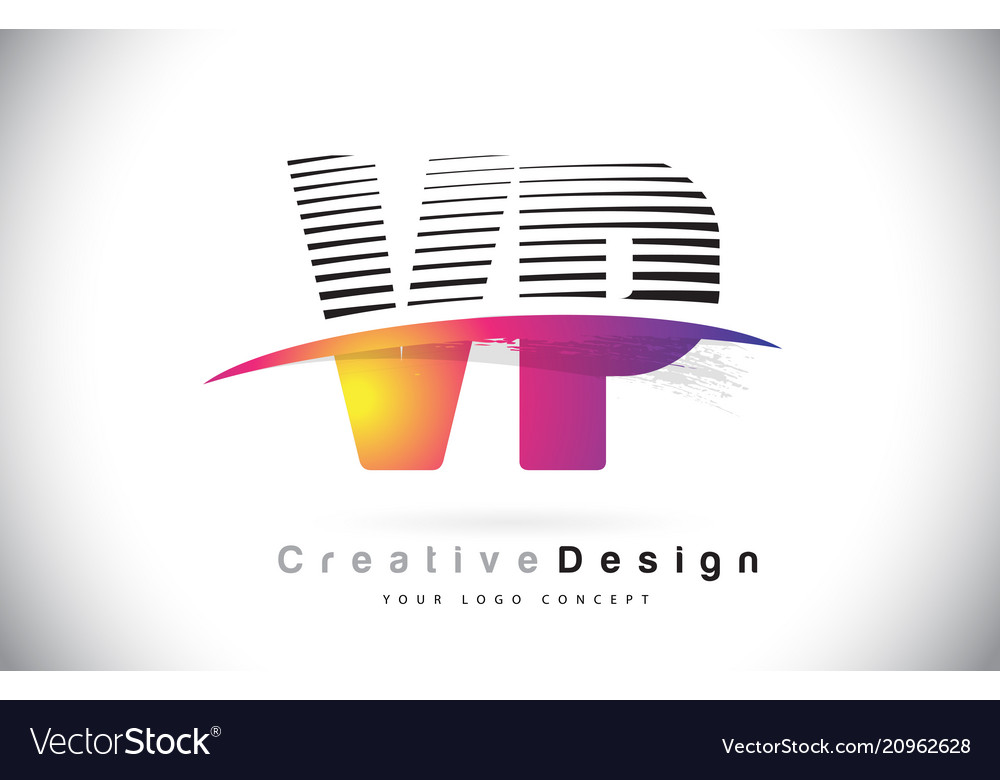 Vp v p letter logo design with creative lines and