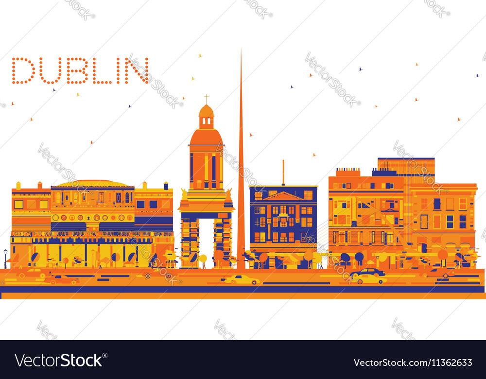 Abstract Dublin Skyline with Color Buildings