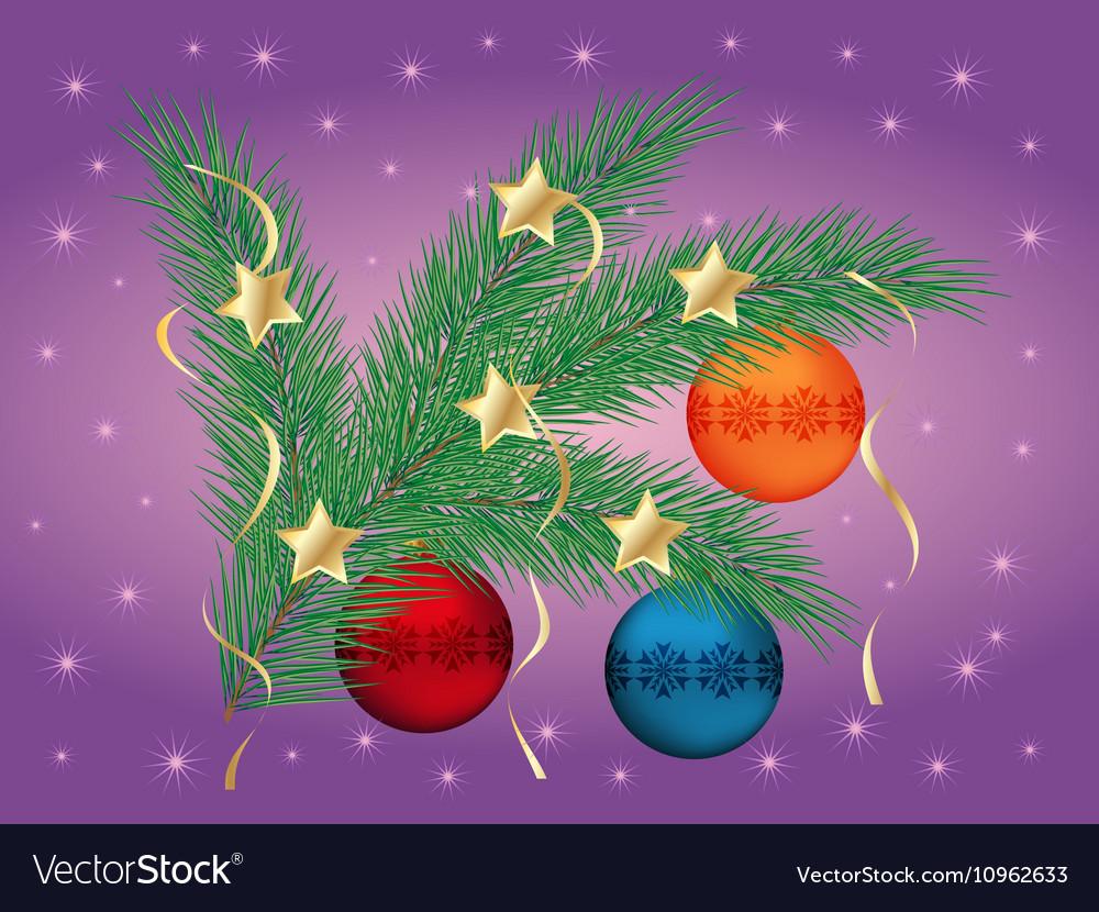 Christmas pine branch vector image