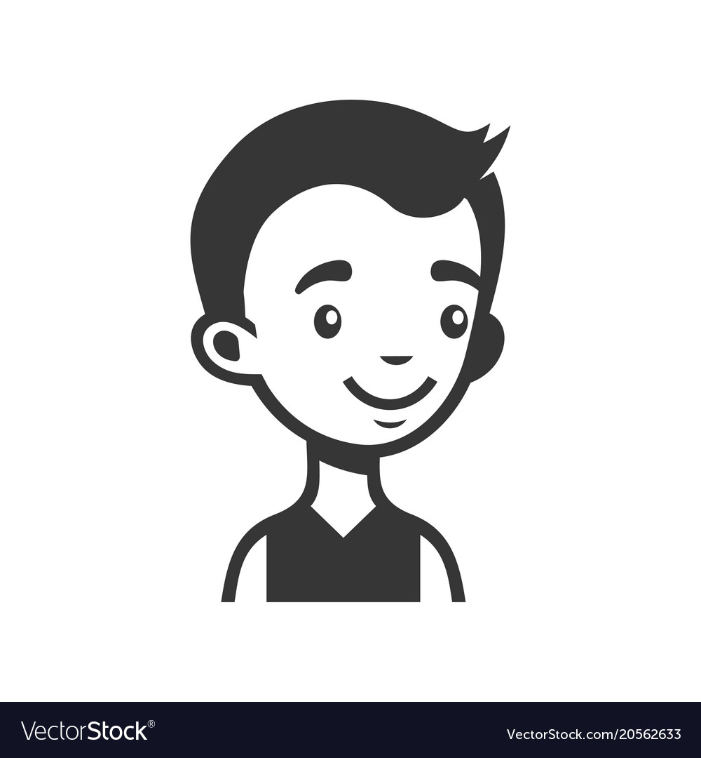 Cute young man avatar cartoon monochrome userpic