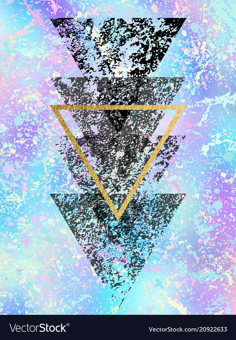 Grunge black shapes of triangles with gold