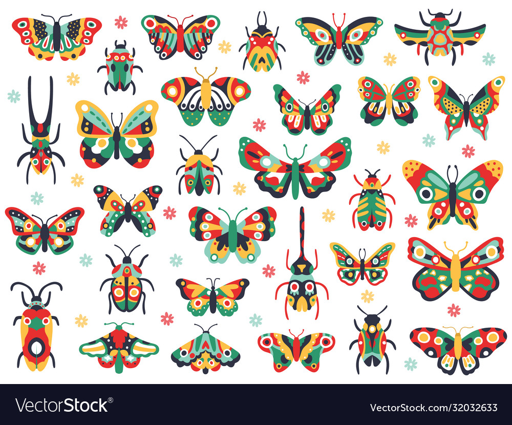 Hand drawn cute insects doodle flying butterfly