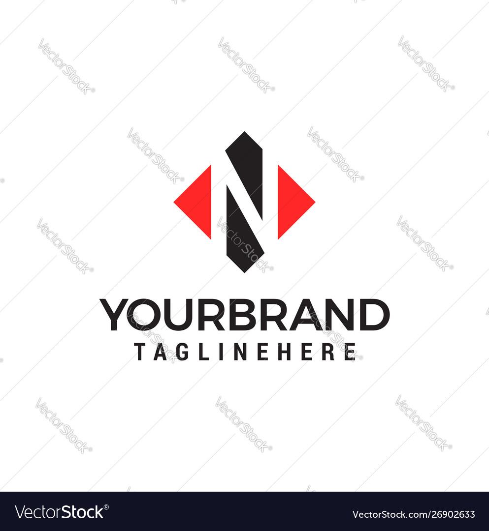 Letter n negative space square logo design