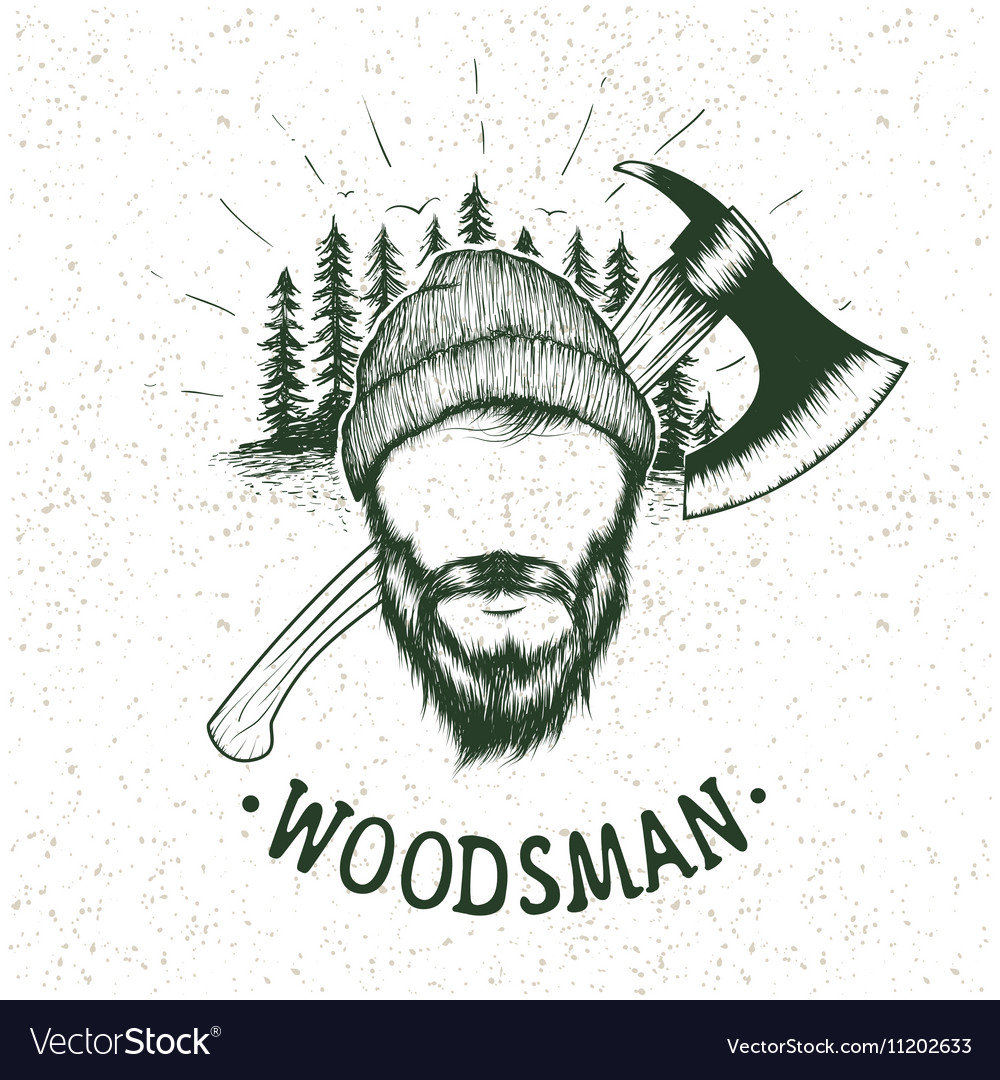 Lumberjack with ax on forest background vector image