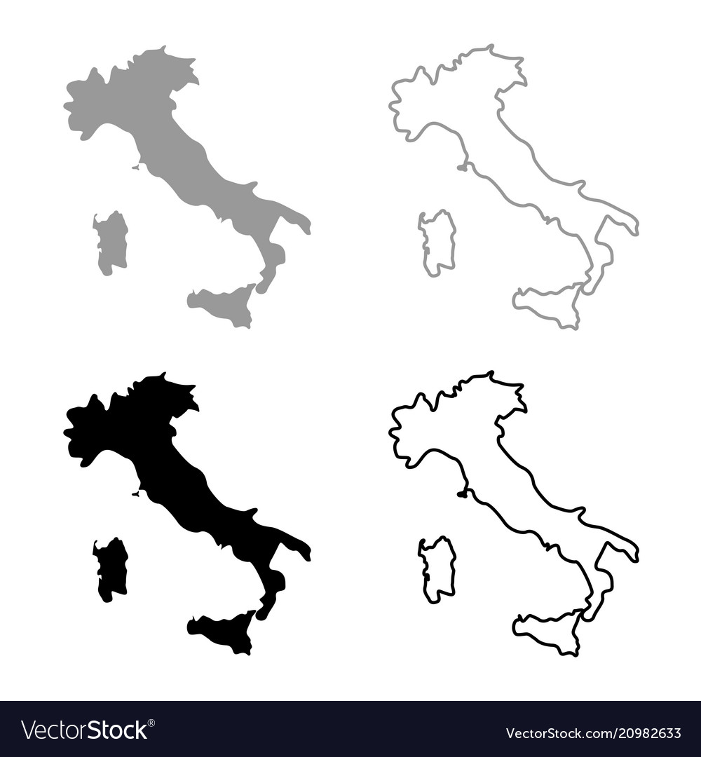 Map Of Italy Black And White.Map Of Italy Icon Set Grey Black Color
