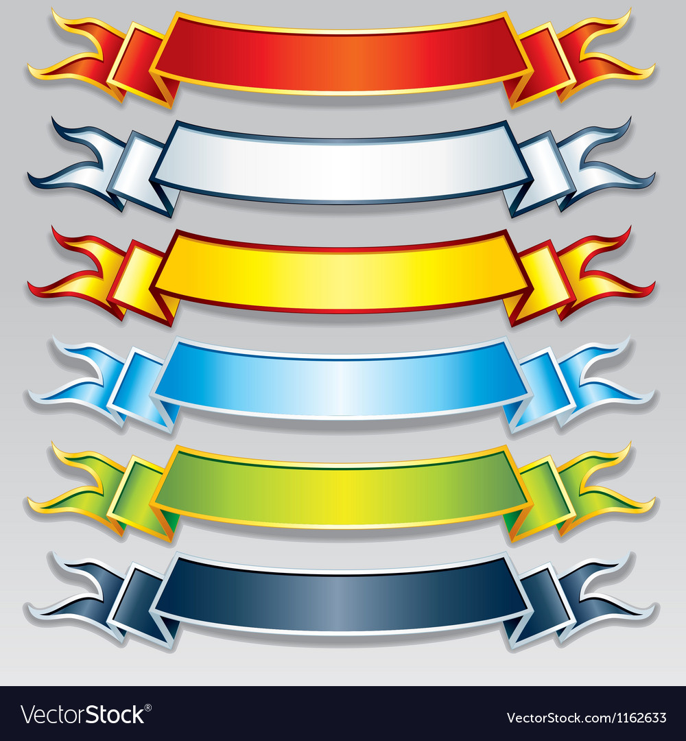 Set of Colorful Ribbons and Banners Image vector image