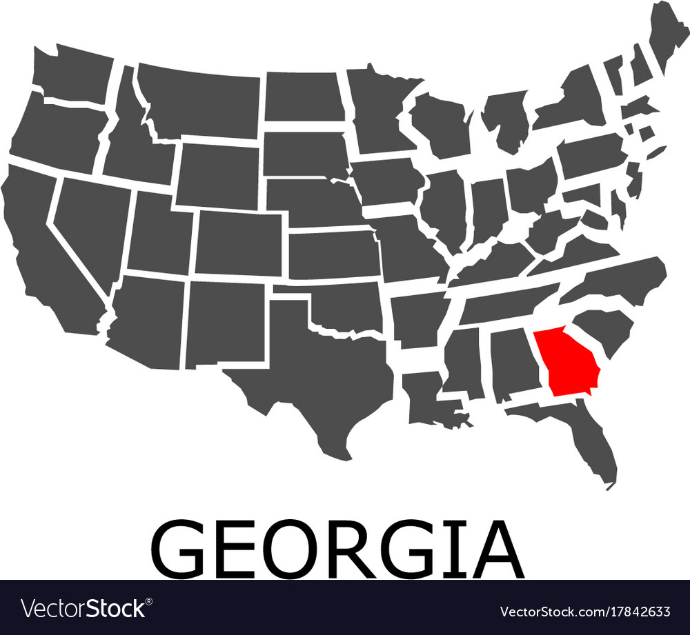 Georgia On Usa Map.State Of Georgia On Map Of Usa Royalty Free Vector Image