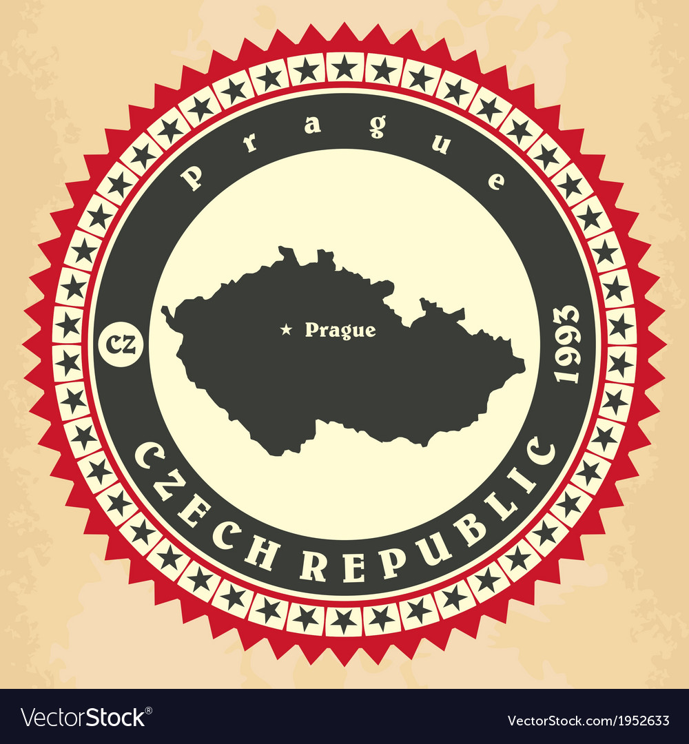 Vintage label-sticker cards of Czech Republic vector image