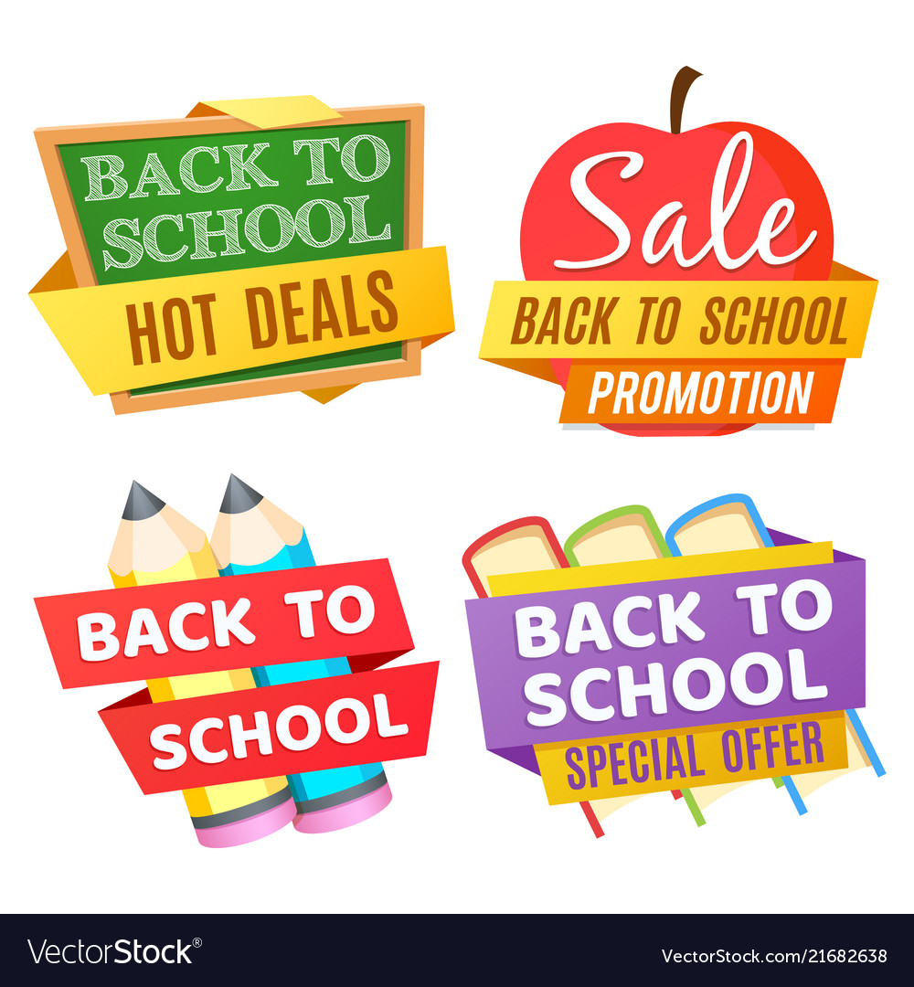 Back to school banners isolated on white