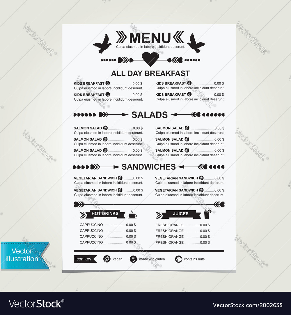 cafe menu template design royalty free vector image
