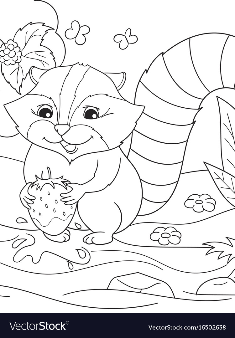 Cartoon coloring book black and white nature