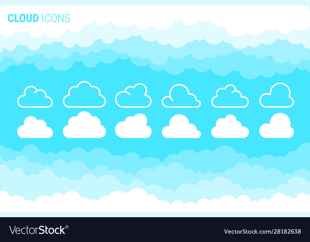 Cloudy sky and cloud icons set