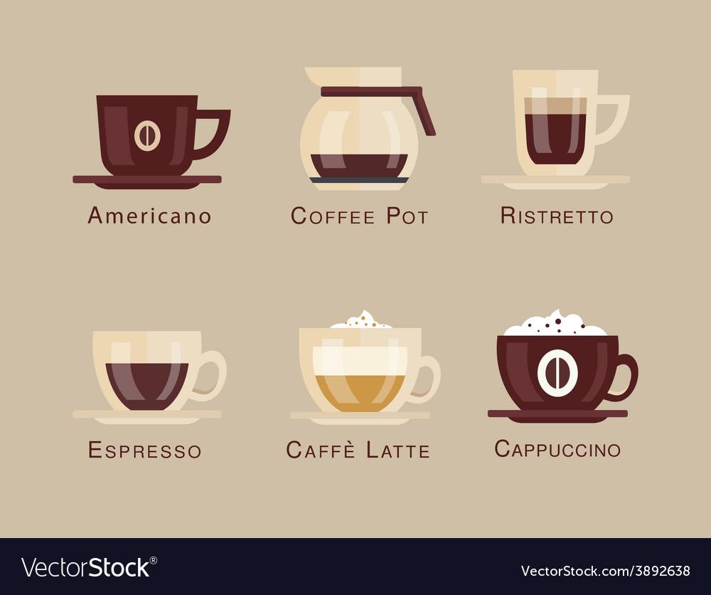 Coffee icon set menu Coffee beverages types