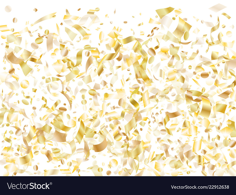 Holiday realistic gold confetti flying