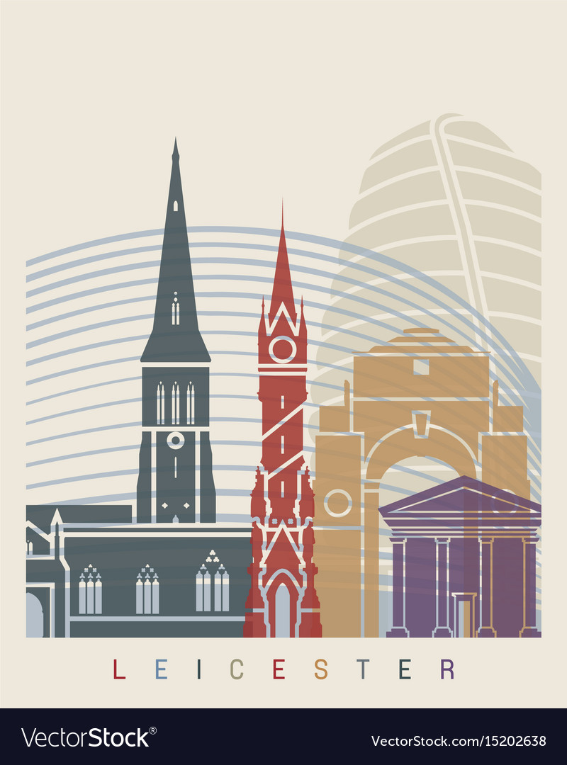 Leicester skyline poster vector image