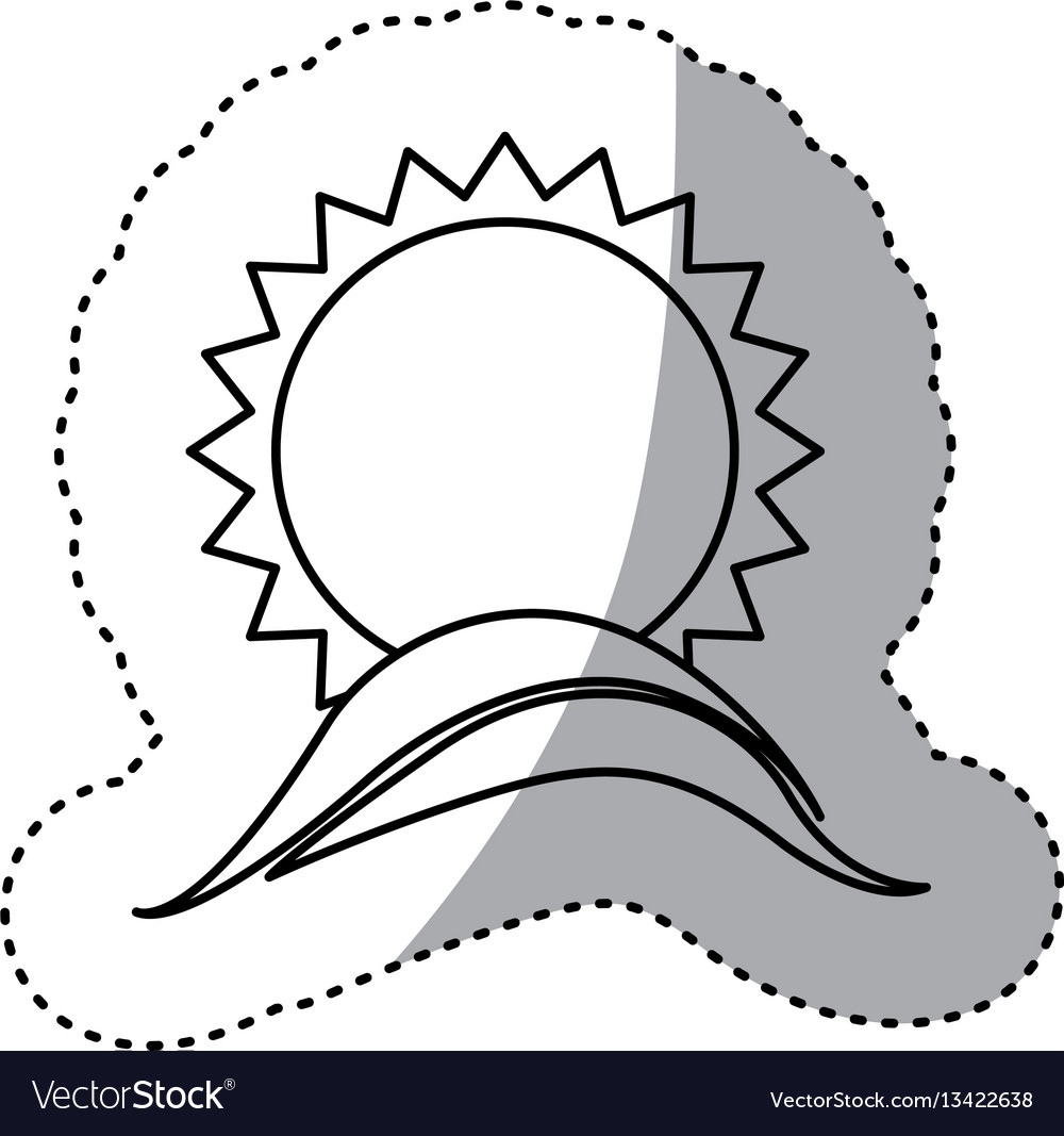 Monochrome contour sticker with sun over sea waves vector image